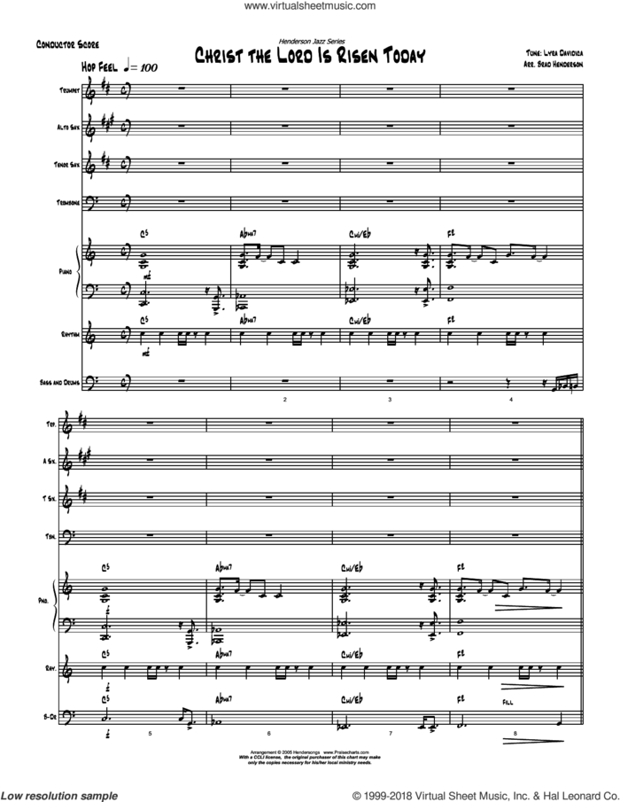 Christ the Lord Is Risen Today sheet music for concert band (orchestration) by Brad Henderson and Charles Wesley / Lyra Davidica, intermediate skill level