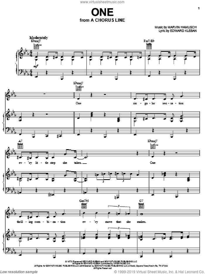 One sheet music for voice, piano or guitar by Marvin Hamlisch, A Chorus Line (Musical) and Edward Kleban, intermediate skill level