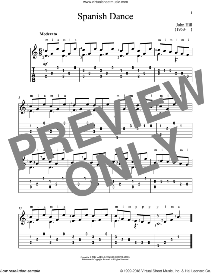 Spanish Dance sheet music for guitar solo by John Hill, classical score, intermediate skill level