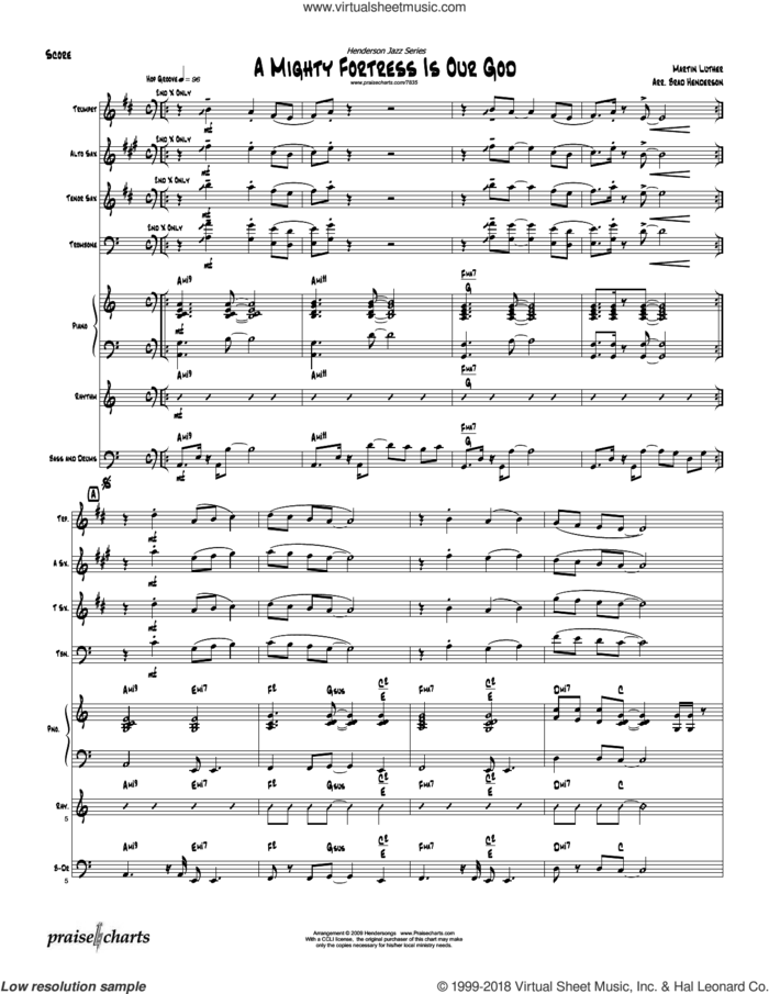 A Mighty Fortress sheet music for concert band (orchestration) by Brad Henderson and Martin Luther, intermediate skill level