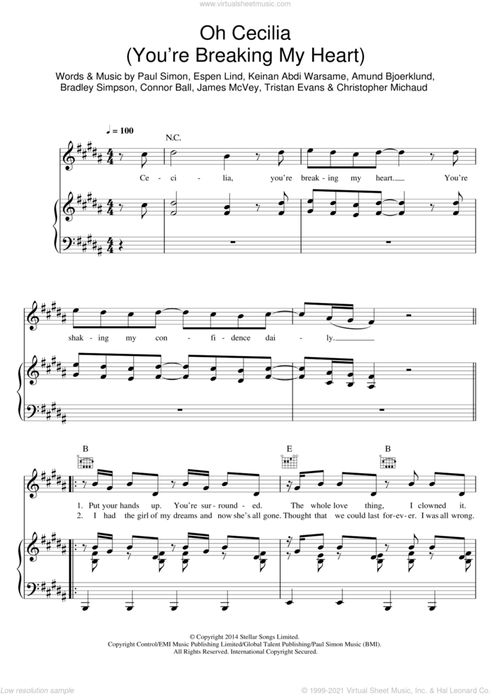 Oh Cecilia (Breaking My Heart) sheet music for voice, piano or guitar by The Vamps, Amund Bjoerklund, Bradley Simpson, Christopher Michaud, Connor Ball, Espen Lind, James McVey, Keinan Abdi Warsame, Paul Simon and Tristan Evans, intermediate skill level