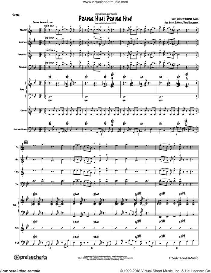 Praise Him Praise Him sheet music for concert band (orchestration) by Brad Henderson and Fanny Crosby, intermediate skill level