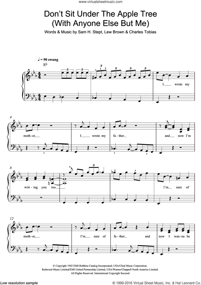 Don't Sit Under The Apple Tree (With Anyone Else But Me) sheet music for piano solo by The Andrews Sisters, Charles Tobias, Lew Brown and Sam H. Stept, easy skill level