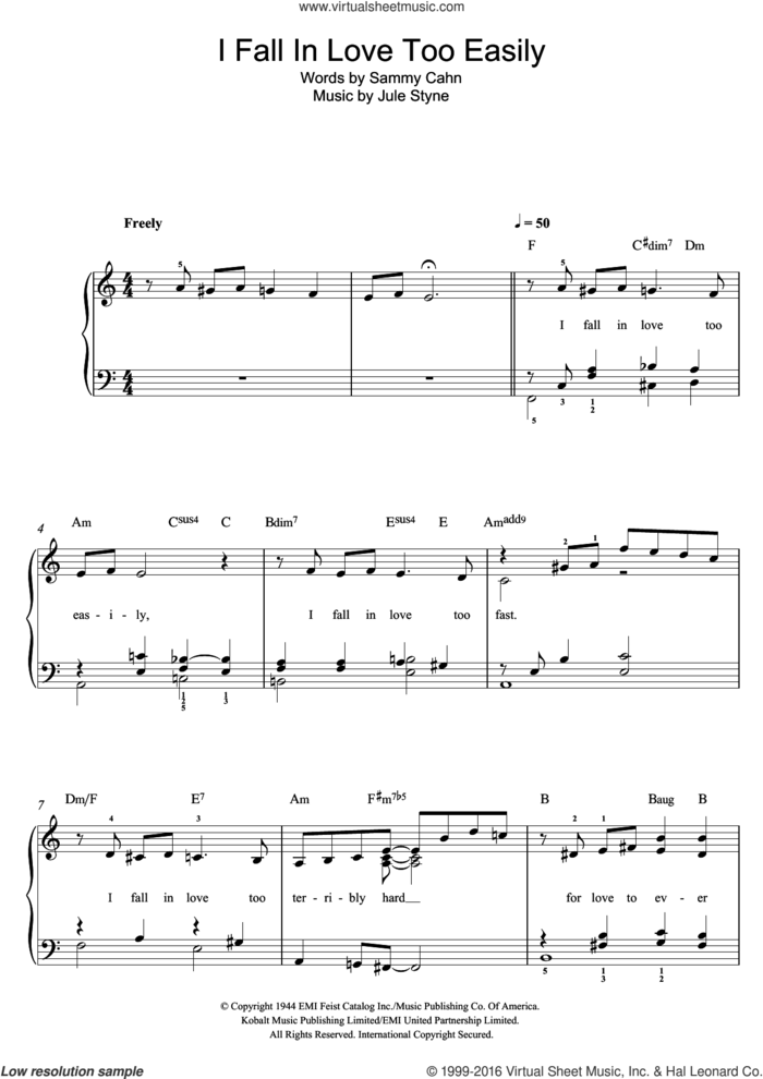 I Fall In Love Too Easily sheet music for piano solo by Frank Sinatra, Jule Styne and Sammy Cahn, easy skill level