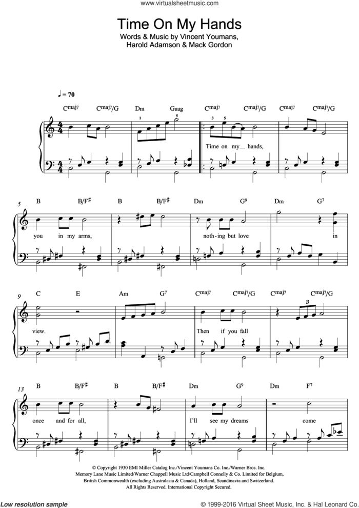 Time On My Hands sheet music for piano solo by Billie Holiday, Harold Adamson, Mack Gordon and Vincent Youmans, easy skill level