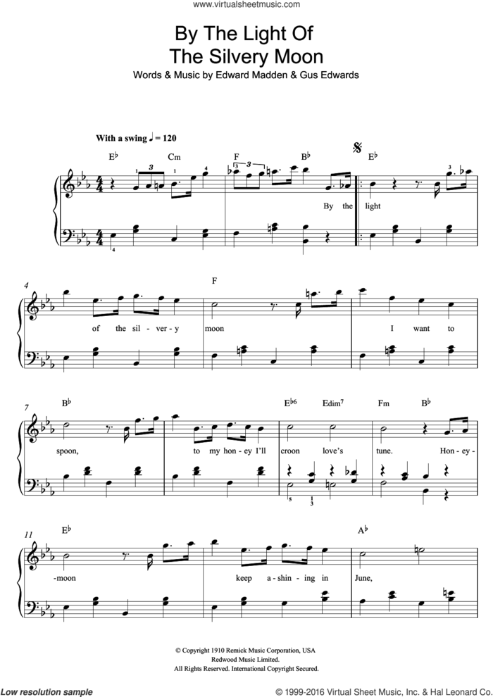 By The Light Of The Silvery Moon sheet music for piano solo by Doris Day, Edward Madden and Gus Edwards, easy skill level