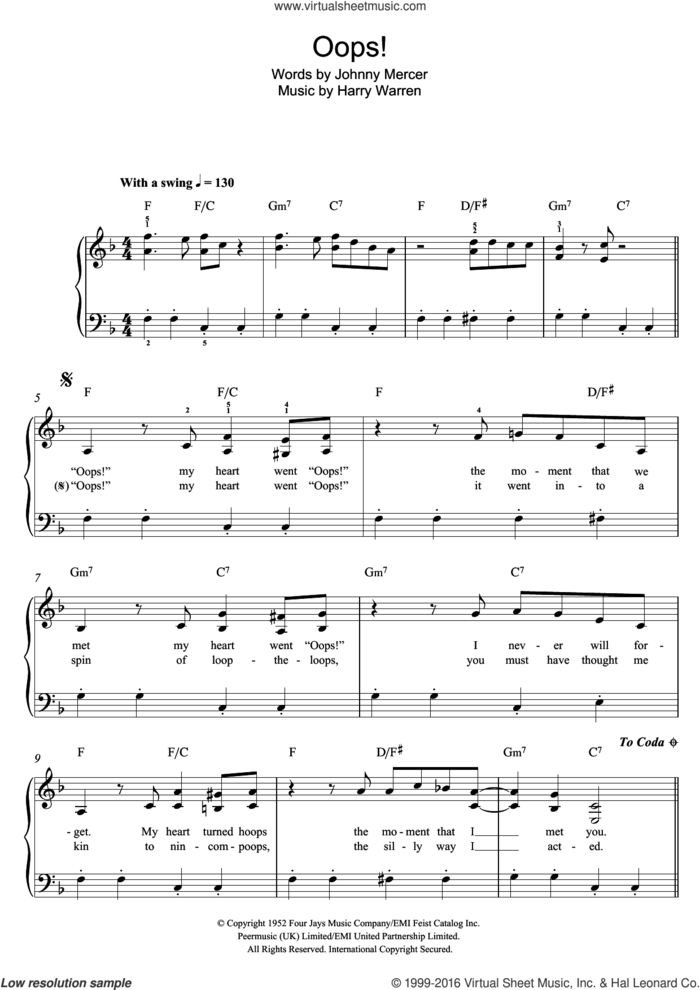 Oops! sheet music for piano solo by Doris Day, Harry Warren and Johnny Mercer, easy skill level