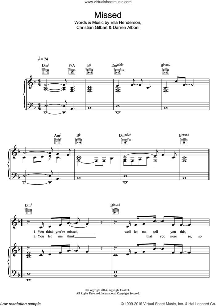 Missed sheet music for voice, piano or guitar by Ella Henderson, Christian Gilbart and Darren Alboni, intermediate skill level