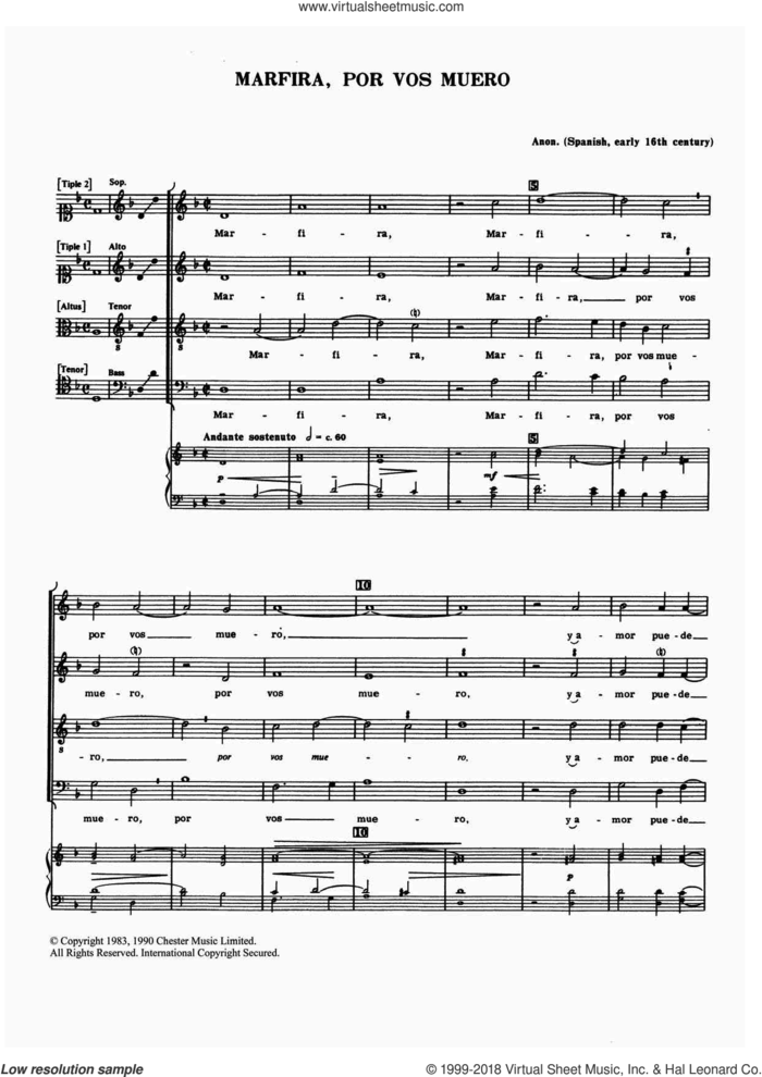 Marfira, Por Vos Muero sheet music for choir by Anon, Anthony Petti and Miscellaneous, classical score, intermediate skill level