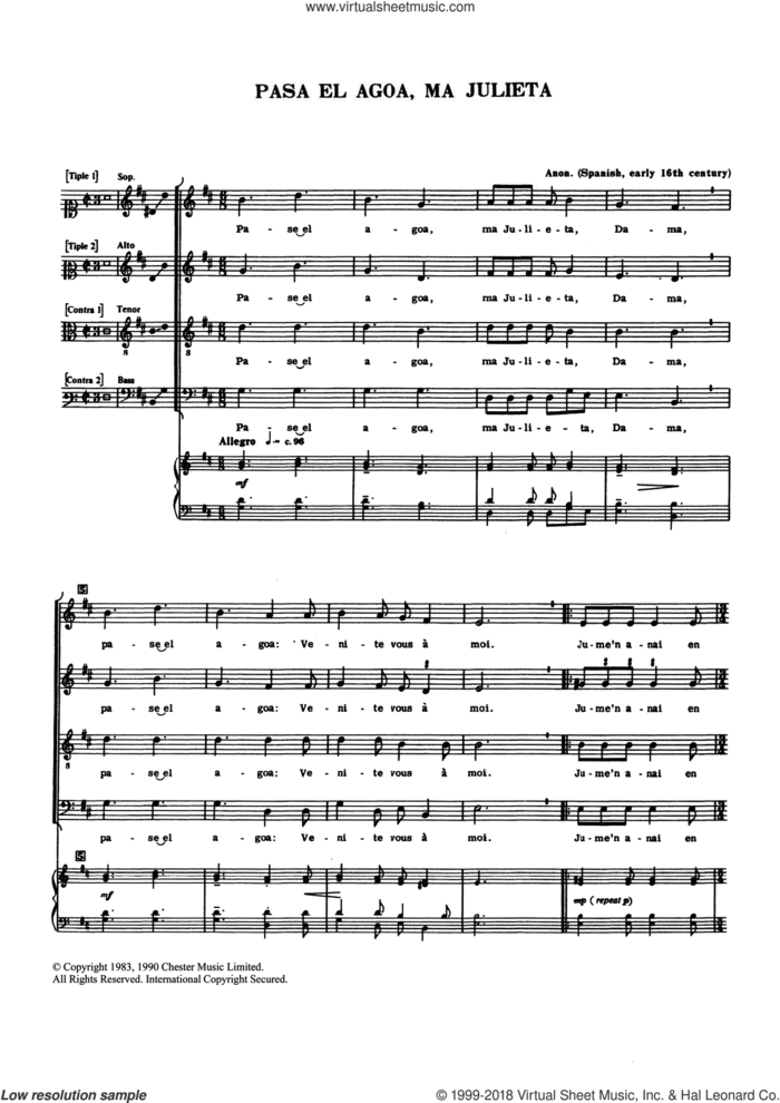 Pase El Agoa, Ma Julieta sheet music for choir by Anon, Anthony Petti and Miscellaneous, classical score, intermediate skill level
