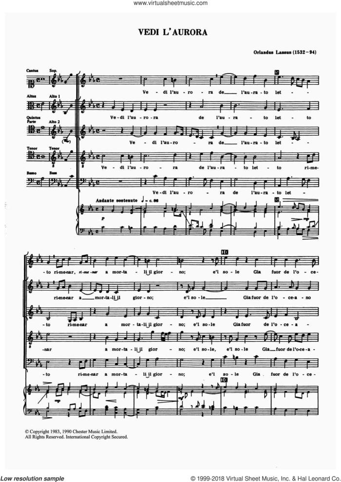 Vedi L'aurora sheet music for choir by Orlandus Lassus, Anthony Petti and Orlando Lassus, classical score, intermediate skill level