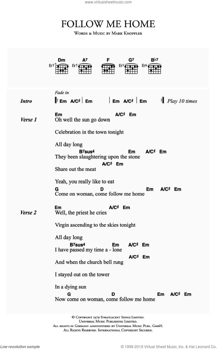Straits   Follow Me Home sheet music for guitar chords [PDF]