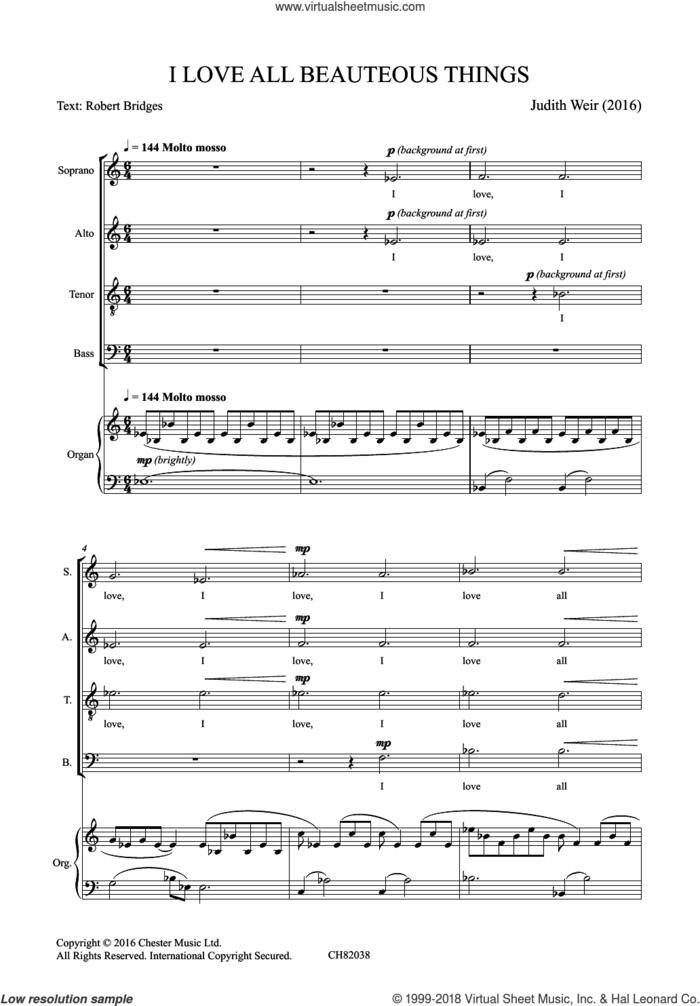 I Love All Beauteous Things sheet music for choir by Judith Weir and Robert Bridges, classical score, intermediate skill level