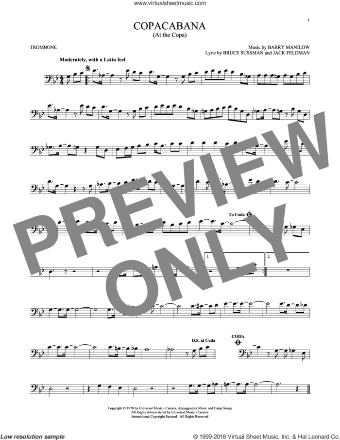 Copacabana (At The Copa) sheet music for trombone solo by Barry Manilow, Bruce Sussman and Jack Feldman, intermediate skill level