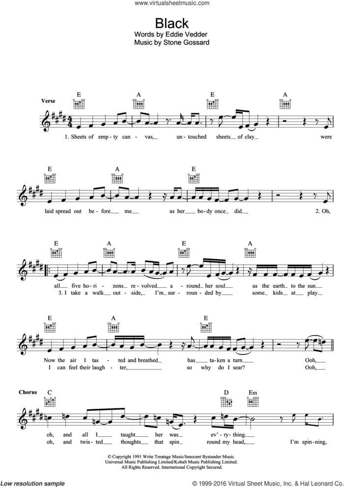 Black sheet music for voice and other instruments (fake book) by Pearl Jam, Eddie Vedder and Stone Gossard, intermediate skill level