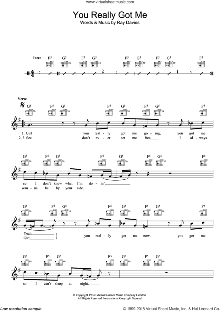You Really Got Me sheet music for voice and other instruments (fake book) by The Kinks and Ray Davies, intermediate skill level
