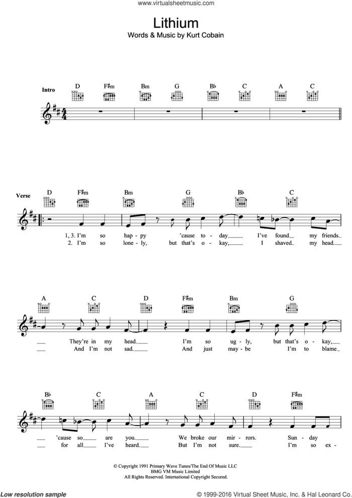 Lithium sheet music for voice and other instruments (fake book) by Nirvana and Kurt Cobain, intermediate skill level