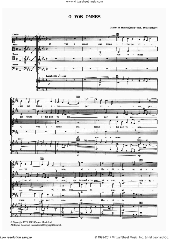 O Vos Omnes sheet music for choir by Jachet of Mantua, classical score, intermediate skill level