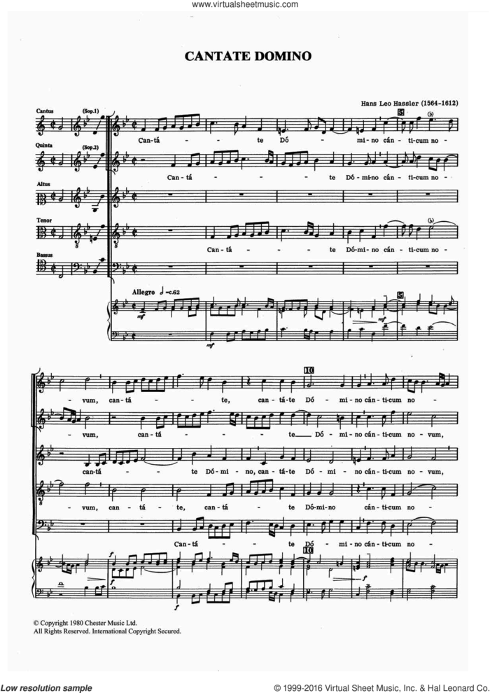 Cantate Domino sheet music for voice, piano or guitar by Hans Leo Hassler, classical score, intermediate skill level