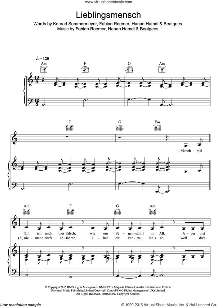 Lieblingsmensch sheet music for voice, piano or guitar by Namika, Beatgees, Fabian Roemer, Hanan Hamdi and Konrad Sommermeyer, intermediate skill level