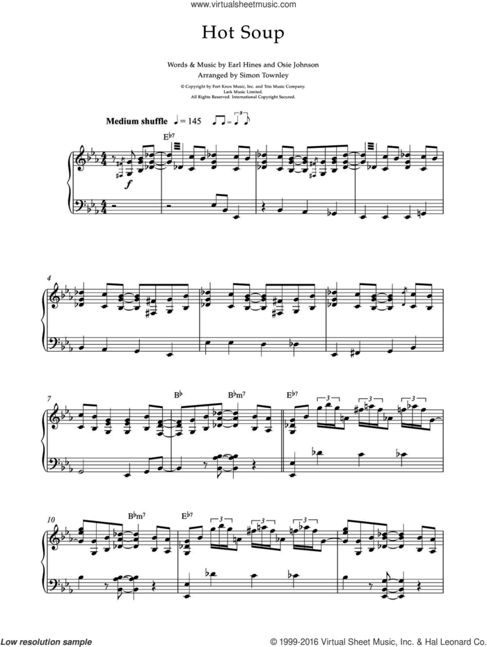 Hot Soup sheet music for piano solo by Earl Hines and Osie Johnson, intermediate skill level