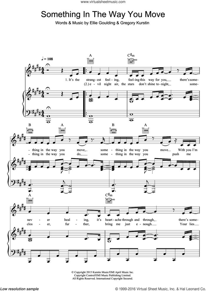 Something In The Way You Move sheet music for voice, piano or guitar by Ellie Goulding and Greg Kurstin, intermediate skill level