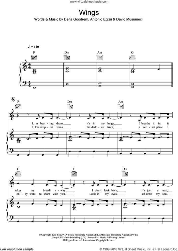 Wings sheet music for voice, piano or guitar by Delta Goodrem, Antonio Egizii and David Musumeci, intermediate skill level
