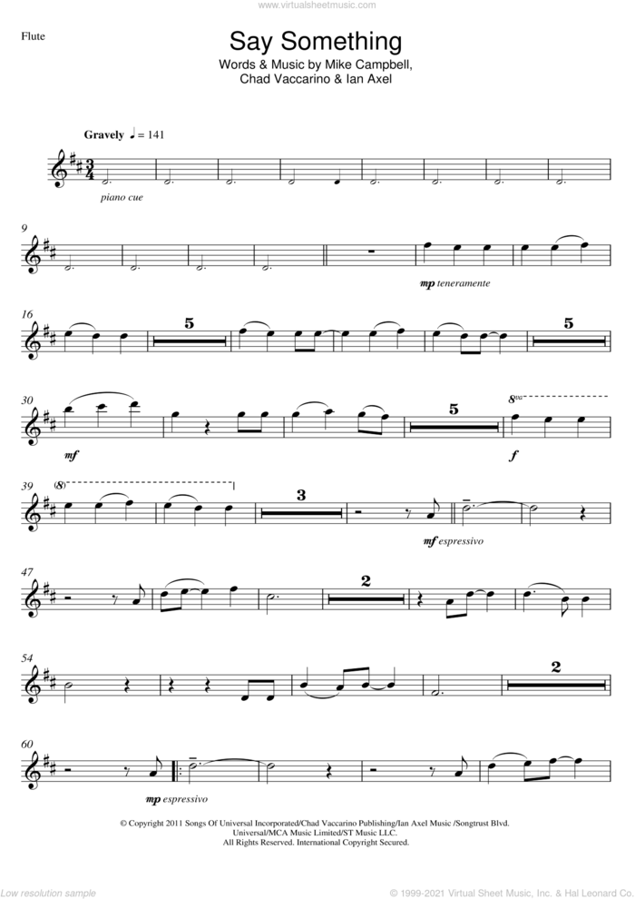 Say Something sheet music for flute solo by A Great Big World, Christina Aguilera, Chad Vaccarino, Ian Axel and Mike Campbell, intermediate skill level
