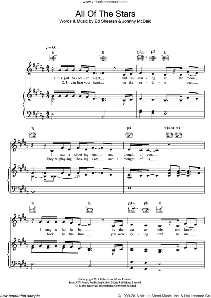 All Of The Stars sheet music for voice, piano or guitar by Ed Sheeran and Johnny McDaid, intermediate skill level