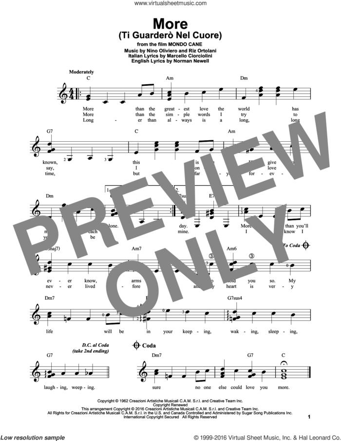 More (Ti Guardero Nel Cuore) sheet music for guitar solo (chords) by Kai Winding, Marcello Ciorciolini, Nino Oliviero, Norman Newell and Riz Ortolani, easy guitar (chords)