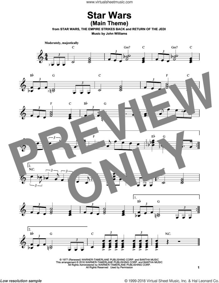 Star Wars (Main Theme) sheet music for guitar solo (chords) by John Williams, easy guitar (chords)