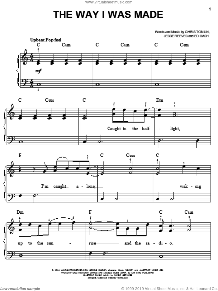 The Way I Was Made sheet music for piano solo by Chris Tomlin, Ed Cash and Jesse Reeves, easy skill level