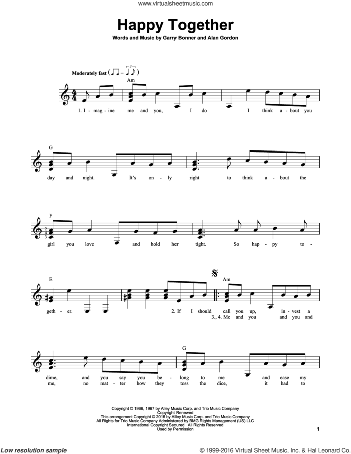 Happy Together sheet music for guitar solo (chords) by The Turtles, Alan Gordon and Garry Bonner, easy guitar (chords)