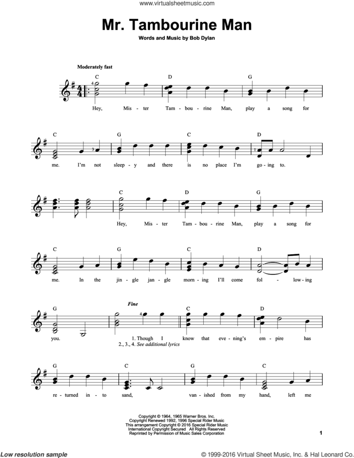 Mr. Tambourine Man sheet music for guitar solo (chords) by Bob Dylan, easy guitar (chords)