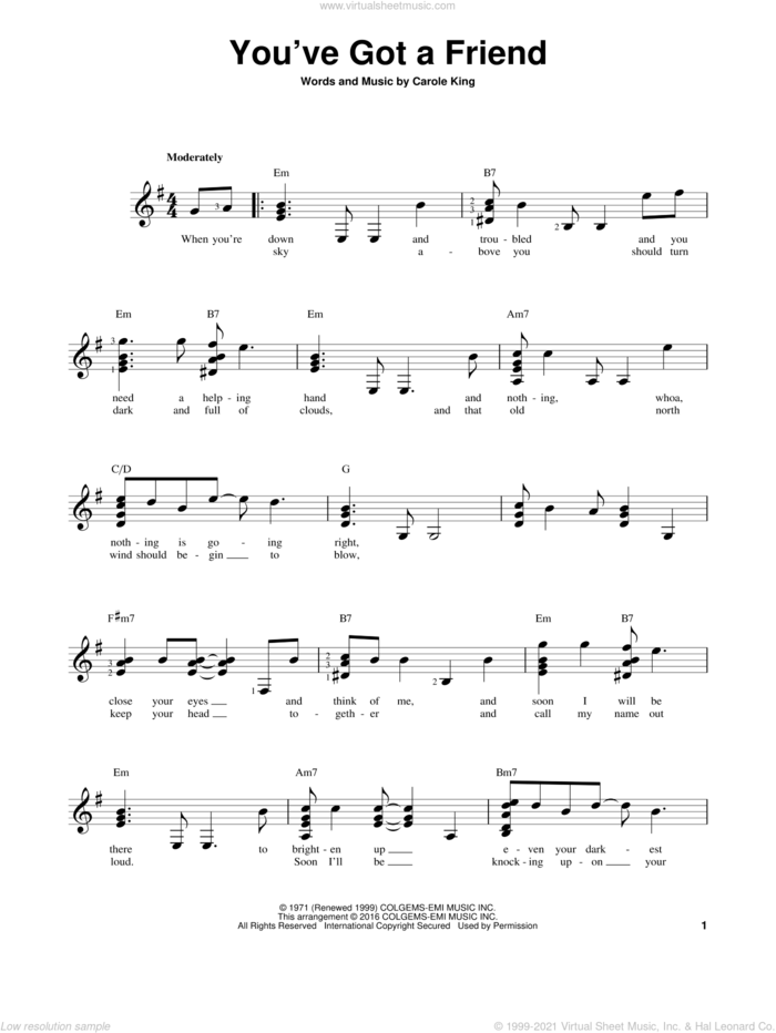 You've Got A Friend sheet music for guitar solo (chords) by James Taylor and Carole King, easy guitar (chords)