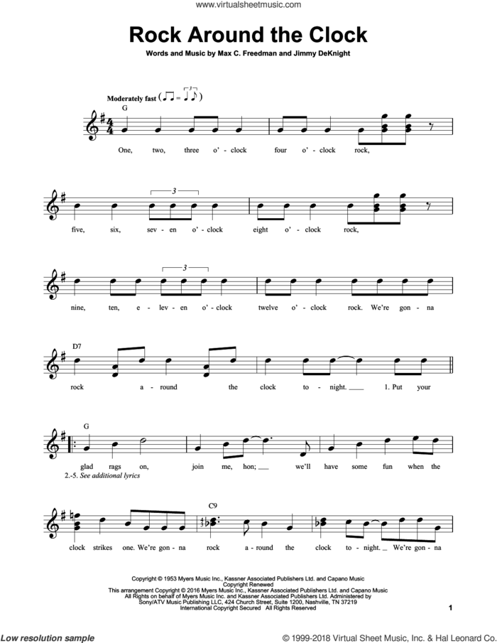 Rock Around The Clock sheet music for guitar solo (chords) by Bill Haley & His Comets, Jimmy DeKnight and Max C. Freedman, easy guitar (chords)