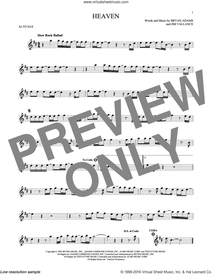 Heaven sheet music for alto saxophone solo by Bryan Adams and Jim Vallance, intermediate skill level