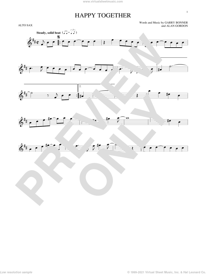 Happy Together sheet music for alto saxophone solo by The Turtles, Alan Gordon and Garry Bonner, intermediate skill level