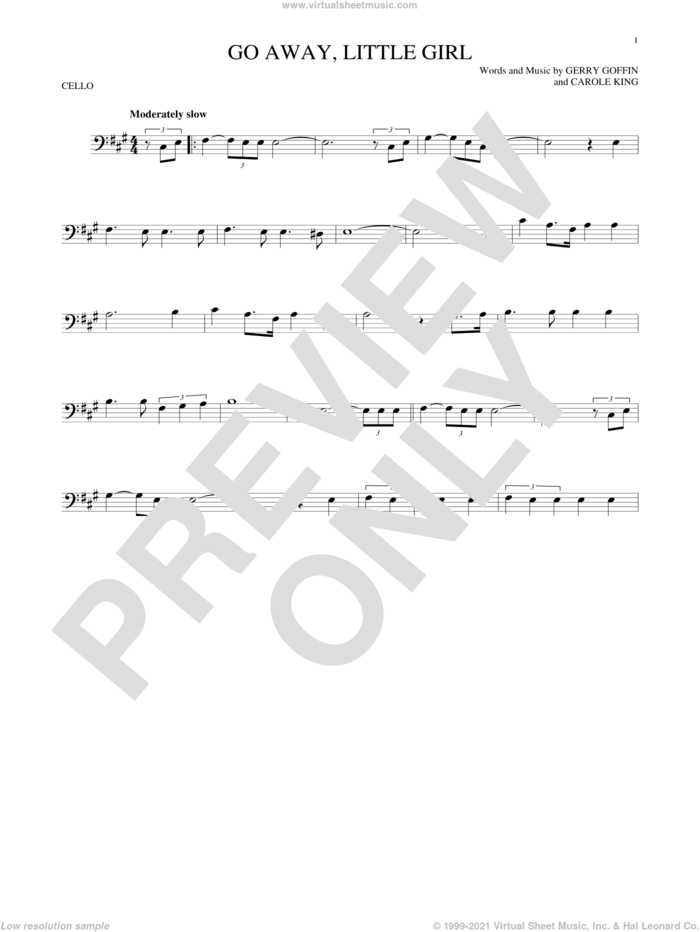 Go Away, Little Girl sheet music for cello solo by Donny Osmond, Steve Lawrence, Carole King and Gerry Goffin, intermediate skill level