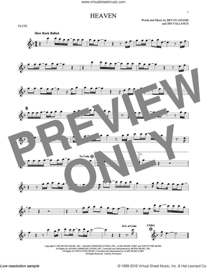 Heaven sheet music for flute solo by Bryan Adams and Jim Vallance, intermediate skill level
