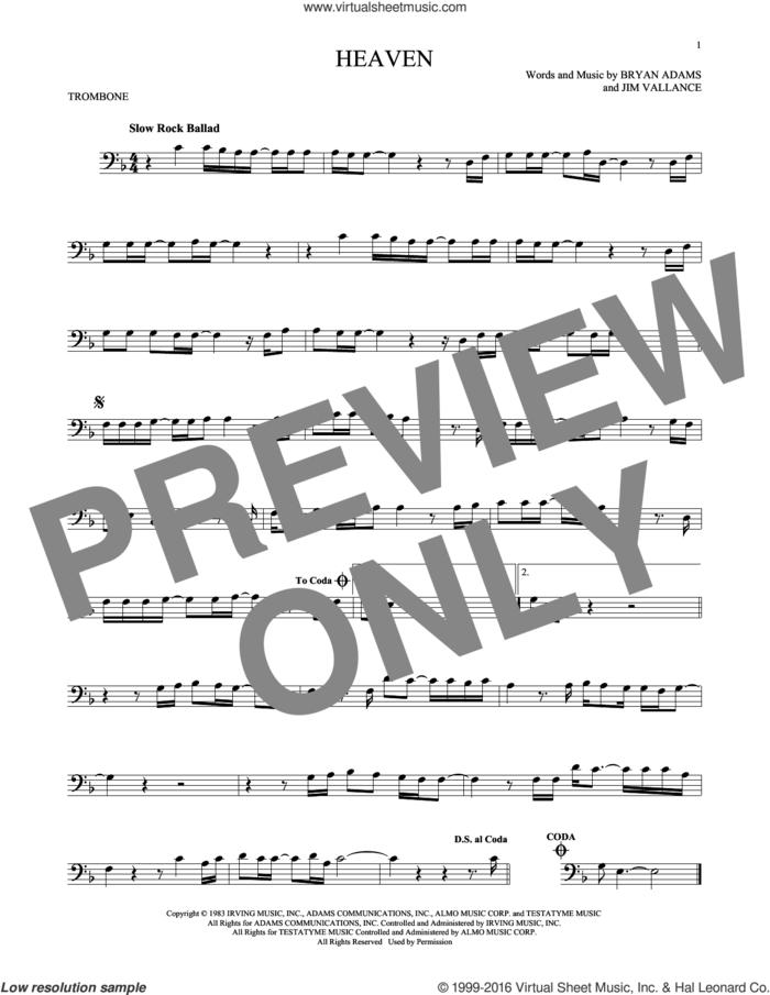 Heaven sheet music for trombone solo by Bryan Adams and Jim Vallance, intermediate skill level