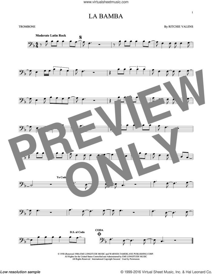 La Bamba sheet music for trombone solo by Ritchie Valens and Los Lobos, intermediate skill level