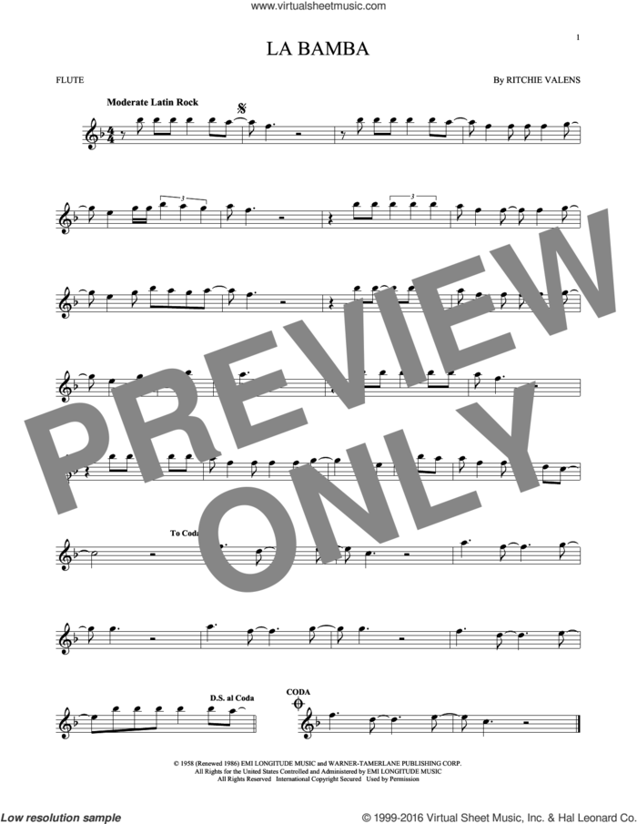 La Bamba sheet music for flute solo by Ritchie Valens and Los Lobos, intermediate skill level