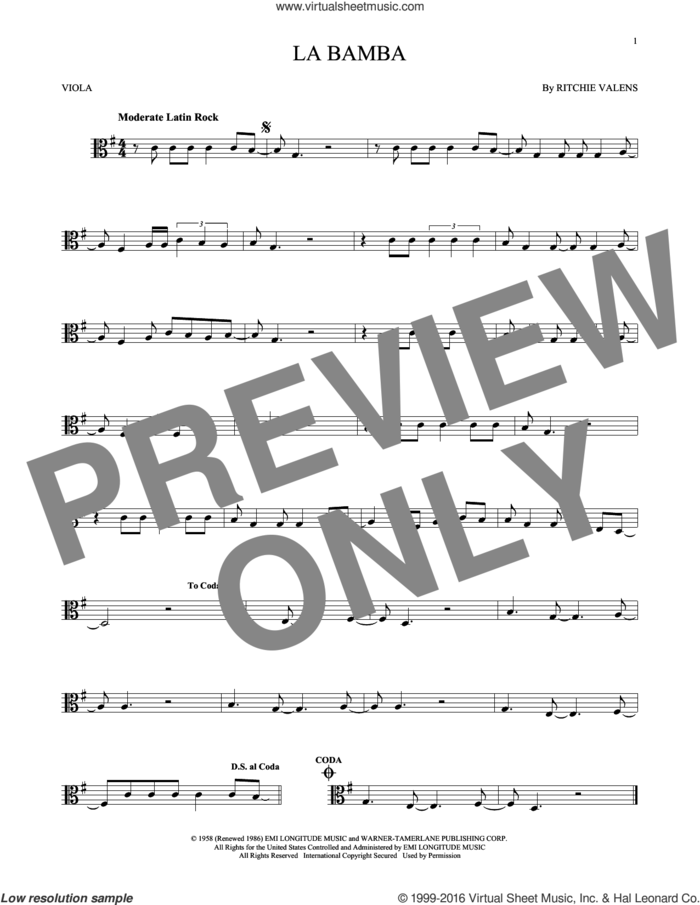 La Bamba sheet music for viola solo by Ritchie Valens and Los Lobos, intermediate skill level