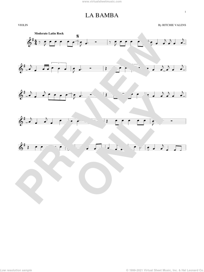 La Bamba sheet music for violin solo by Ritchie Valens and Los Lobos, intermediate skill level