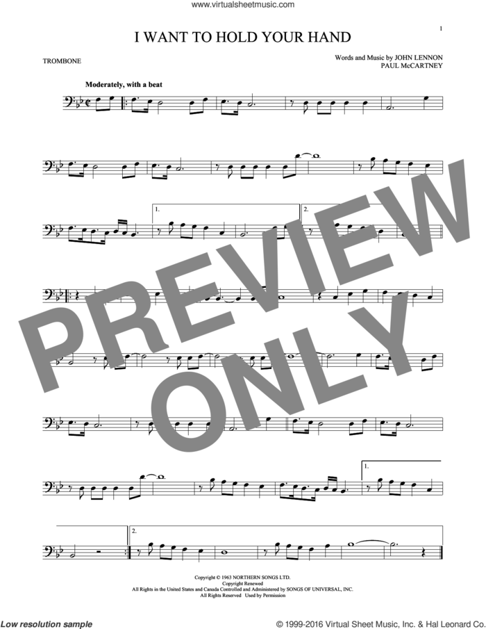 I Want To Hold Your Hand sheet music for trombone solo by The Beatles, John Lennon and Paul McCartney, intermediate skill level