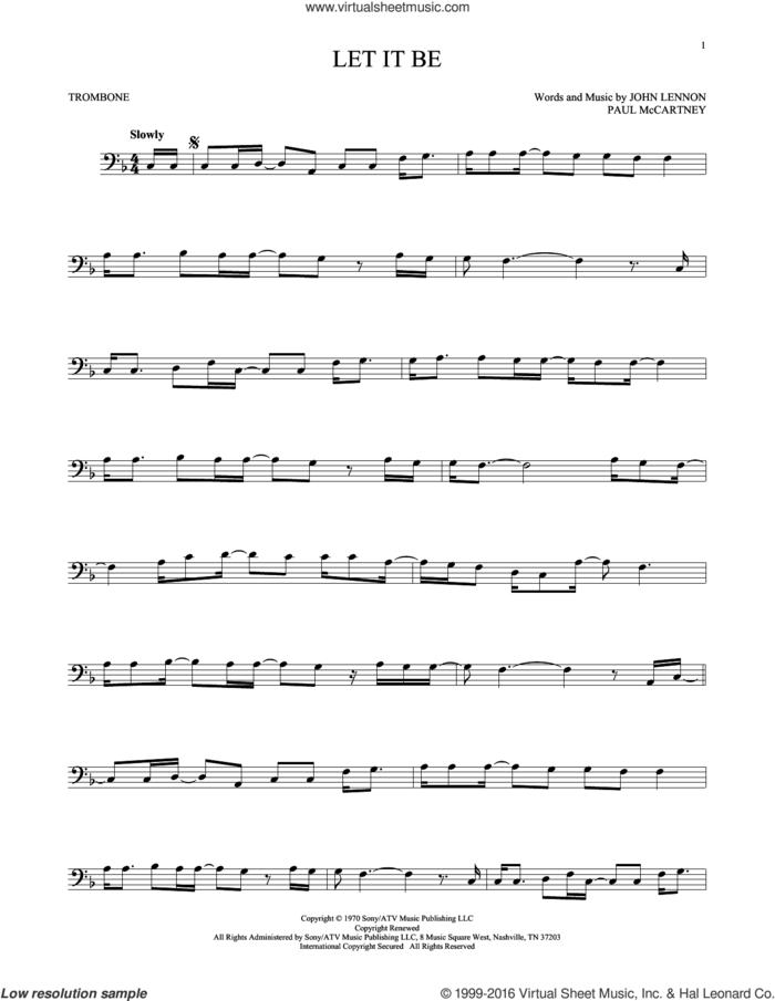 Let It Be sheet music for trombone solo by The Beatles, John Lennon and Paul McCartney, intermediate skill level