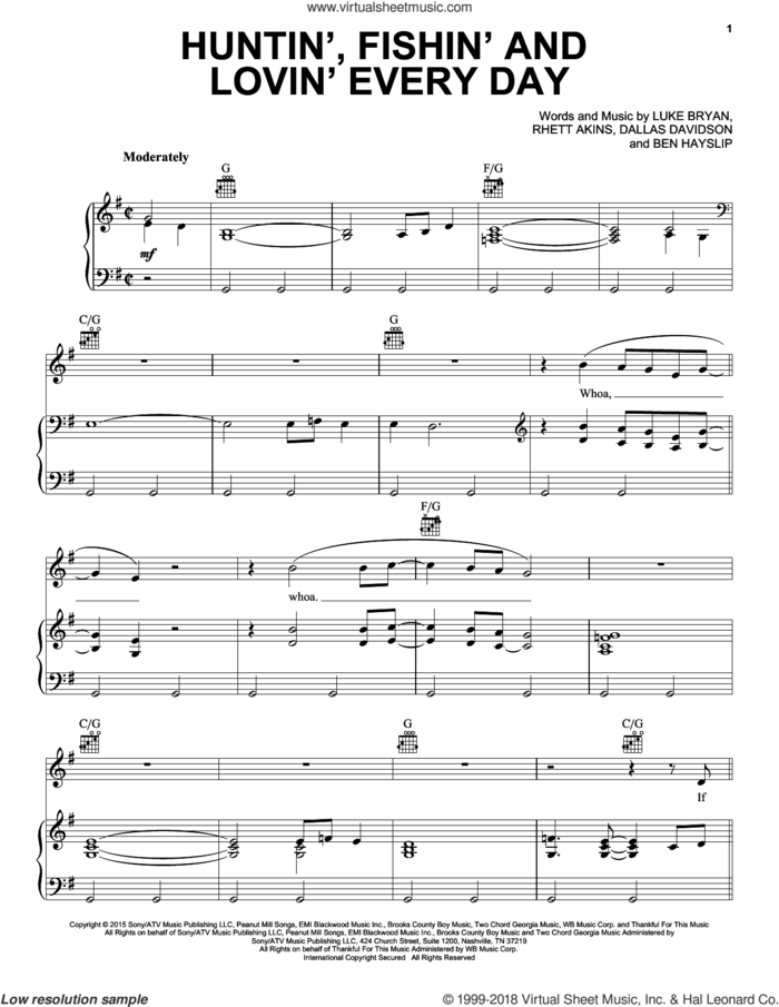 Huntin', Fishin' And Lovin' Every Day sheet music for voice, piano or guitar by Luke Bryan, Ben Hayslip, Dallas Davidson and Rhett Akins, intermediate skill level