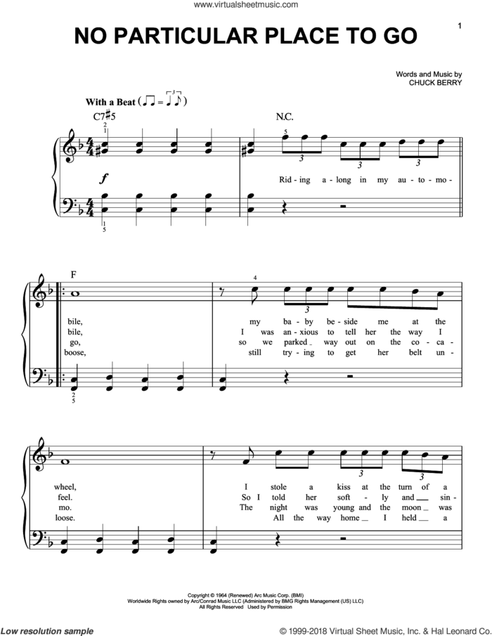 No Particular Place To Go sheet music for piano solo by Chuck Berry, beginner skill level