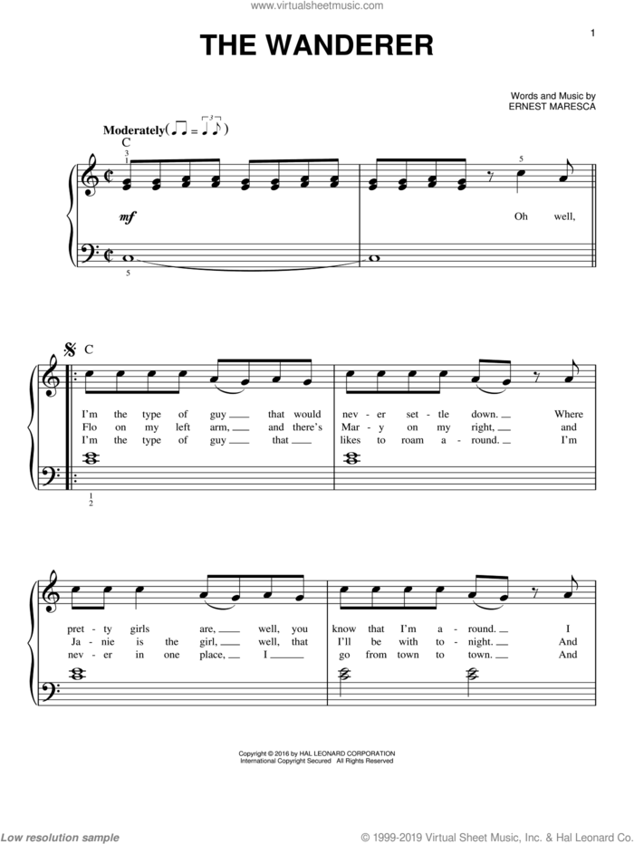 The Wanderer sheet music for piano solo by Dion and Ernie Maresca, beginner skill level